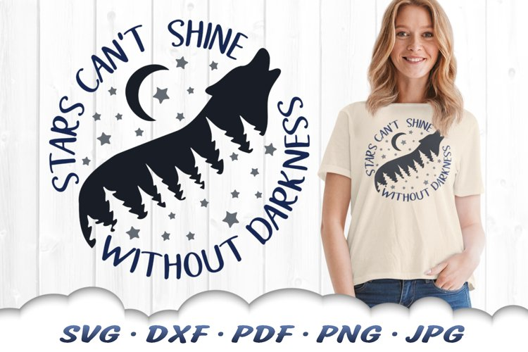 Inspirational Celestial Wolf SVG DXF Cut Files example image 1