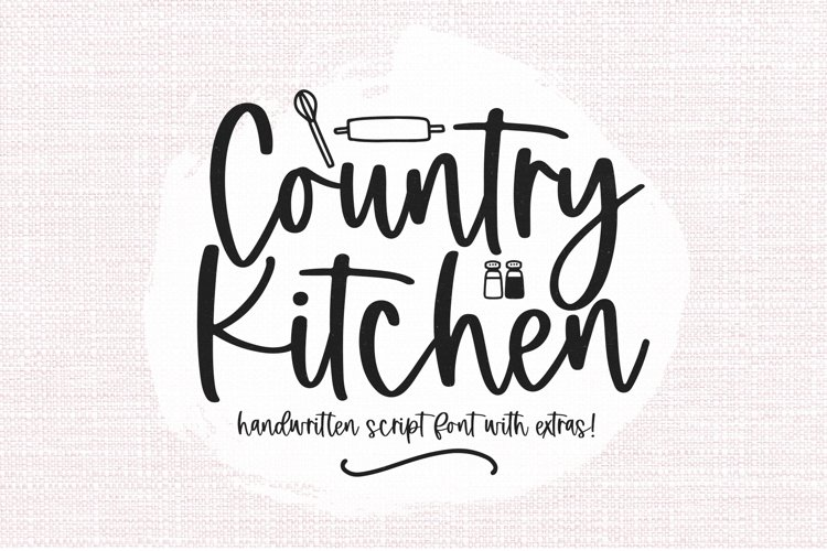 Country Kitchen - A Script Font with Farmhouse Doodles