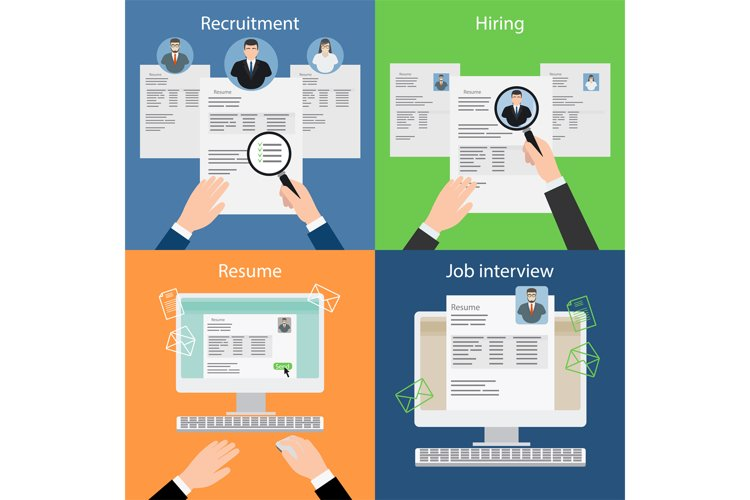 Hiring, recruiting, resume and interview. example image 1