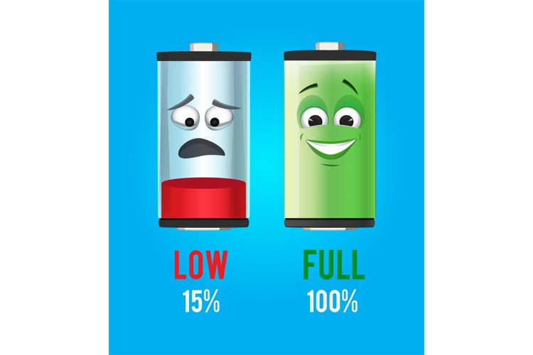 Concept illustration. Batteries characters with full and low example image 1
