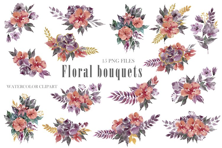Watercolor bouquets clipart. Floral wreath png files