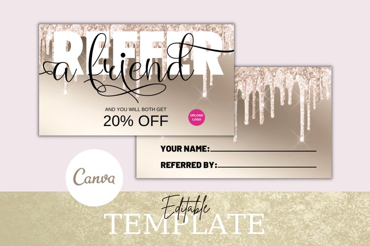 Champagne Glitter Referral Card Template