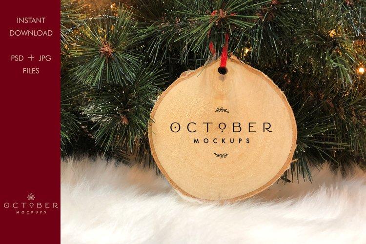 Christmas Decoration Mockup | Wood slice ornament mock-up example image 1