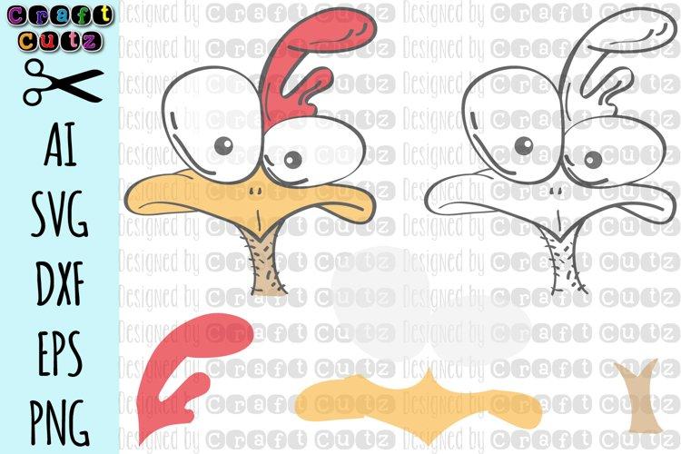 Chicken Head SVG, Cute Crazy Chicken Cut File