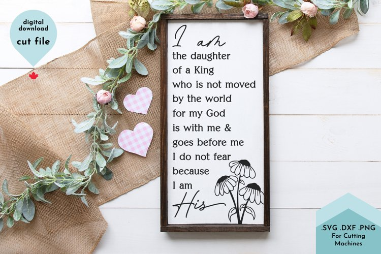 I Am the Daughter of a King - Christian Sign SVG, Nursery example