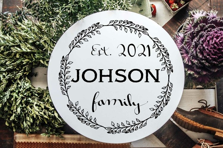 Family Name Design for round signs svg