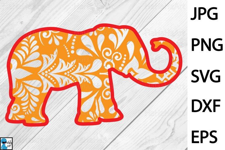 Zentangle Elephant Design - Clip art / Cutting Files 1322c example image 1