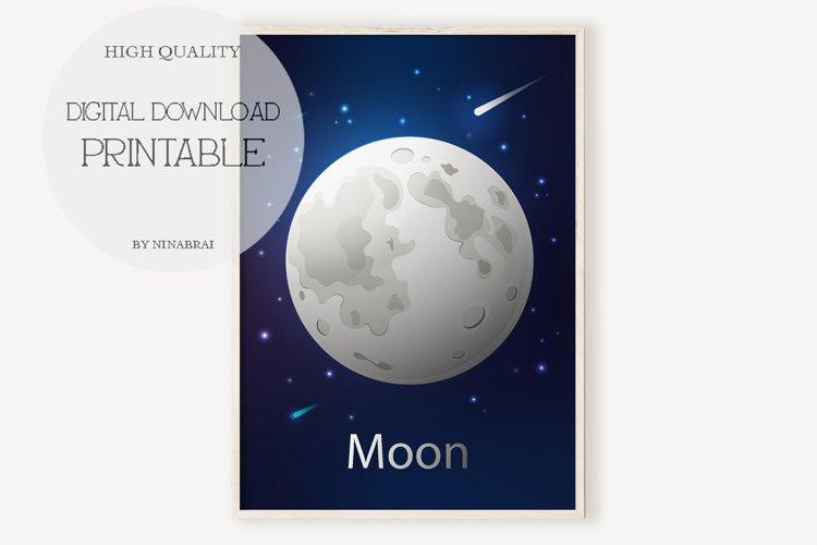 Moon Wall Art, Moon Prints, Moon Wall Decor, Moon Poster.