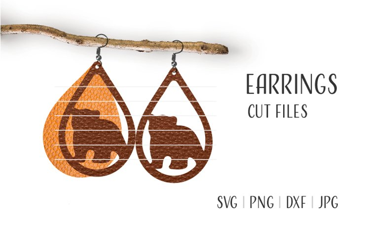 Bear Earrings Svg / Leather / Faux / Wood / Cut example image 1