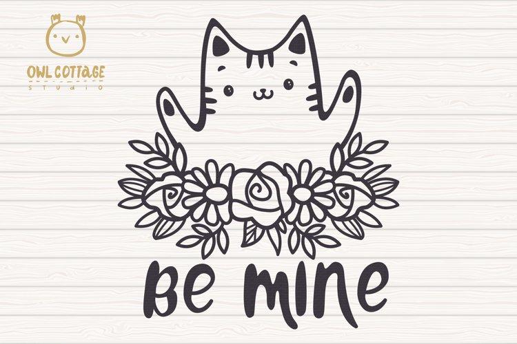 Valentine Cat svg , Kitten with floral decor Svg, Valentine' example 2