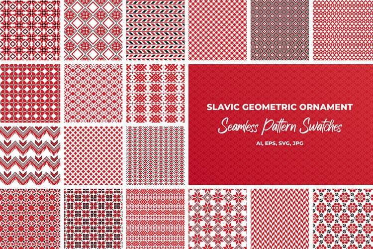 Slavic geometric seamless patterns example image 1