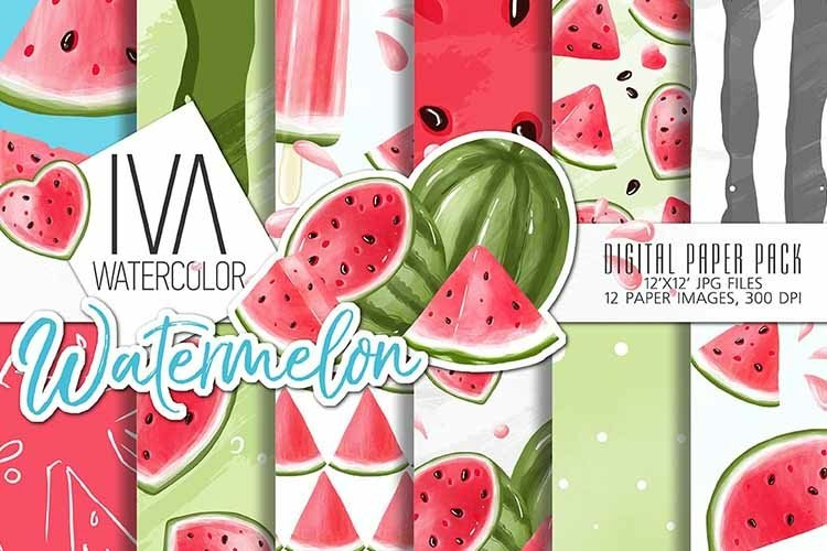 Watermelon digital paper pack