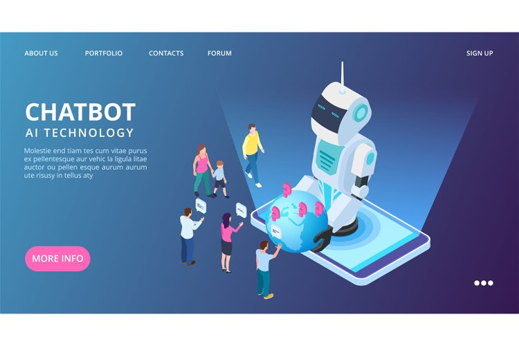 Chatbot landing page. Artificial intelligence vector web ban example image 1