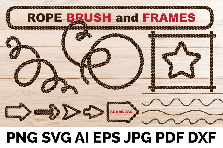 Rope brushe and frames. Set of vector cordage lines, waves example image 1