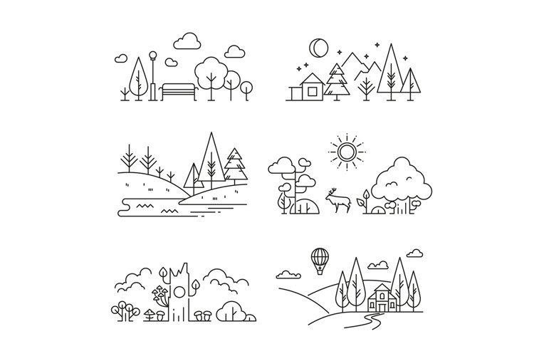 Nature landscape outline icons with tree, plants, mountains, example image 1