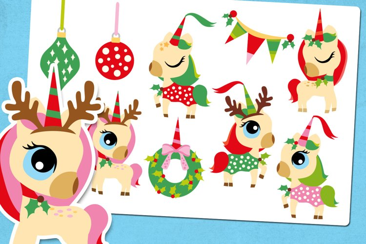 Little Unicorn Christmas Party Illustrations