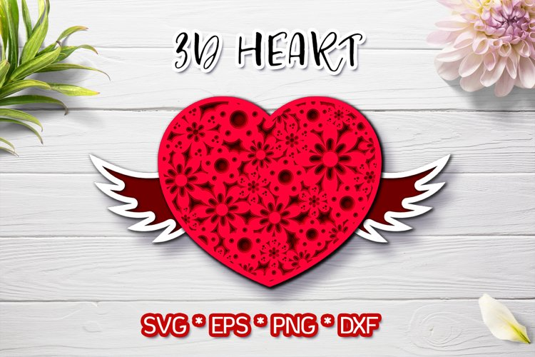 3d heart for Valentines Day svg