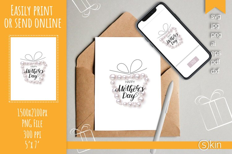 Happy Mothers Day card with realistic pearls, svg