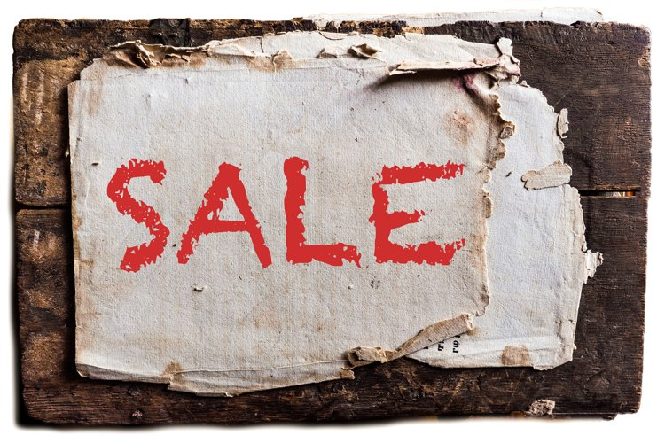 lettering sale textured grunge old paper postcard isolated example image 1