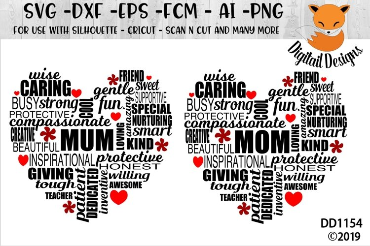 Mom/Mum Mothers Day Word Cloud SVG