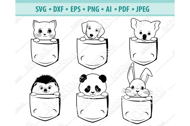Animals in pocket Svg, Cute pet Svg, Baby Pets Dxf, Png, Eps example image 1