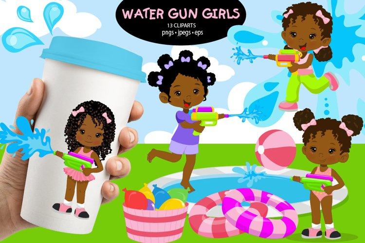 African American girls, Water games, water gun, Pool girls