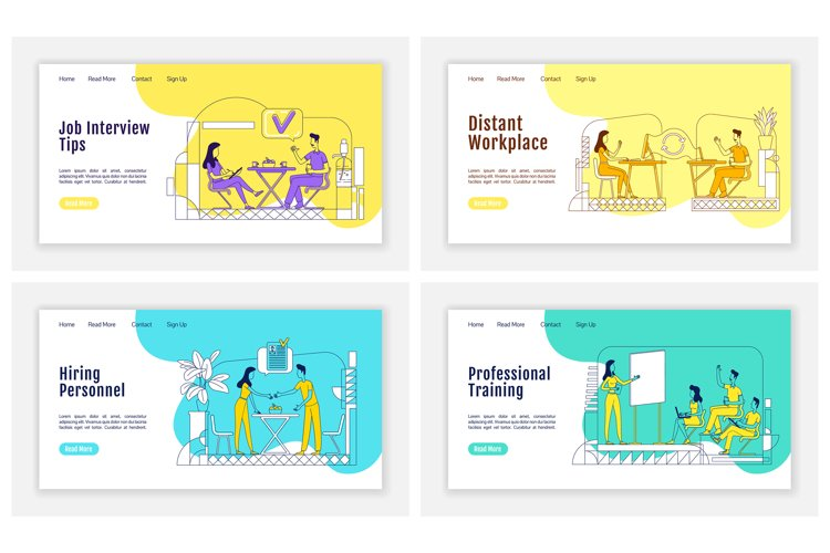 Headhunting landing page flat vector templates set example image 1