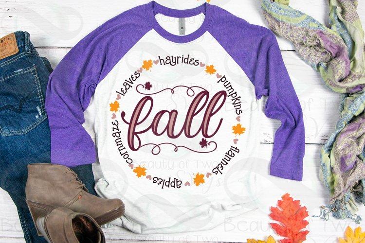 Fall love Circle Wreath svg, Hello Fall Shirt svg, Fall svg example image 1