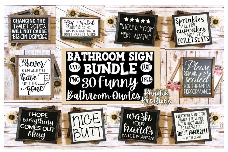 Bathroom Sign Bundle Svg, Funny Bathroom Quotes Svg example image 1