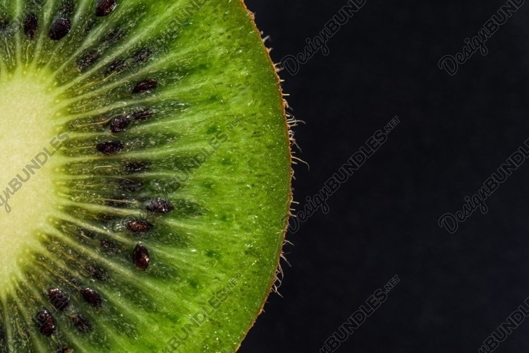 Ripe green kiwi. Fruit closeup example image 1
