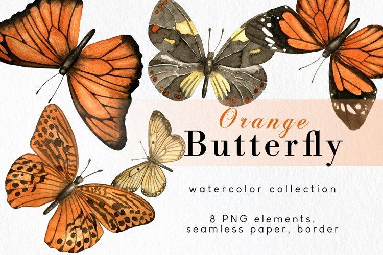 Butterfly clipart, fall orange watercolor butterflies png