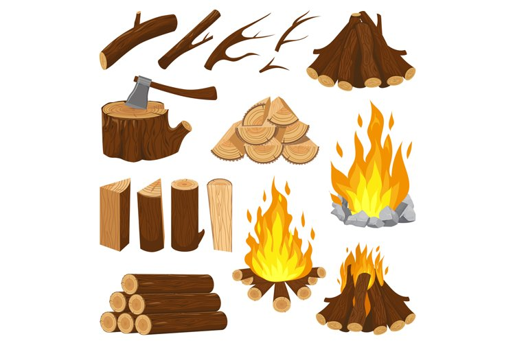 Firewood boards. Fireplace fire wood, burning wooden stack a example image 1