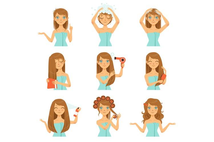 Health hairs protection. Teen washing face and long hairs example image 1
