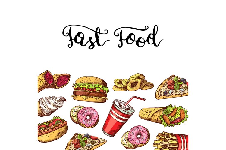 Vector hand drawn fast food elements illustration example image 1