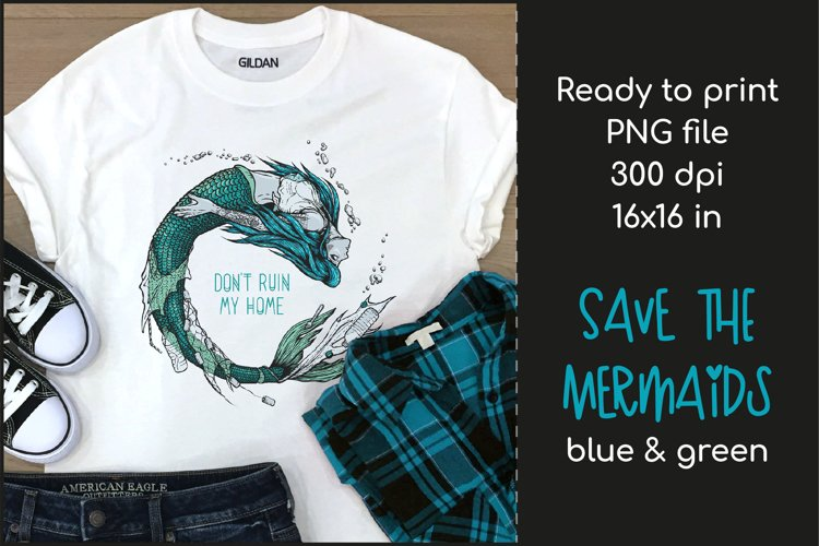 Trash Mermaid T-shirt Design, Mermaid Sublimation PNG example image 1