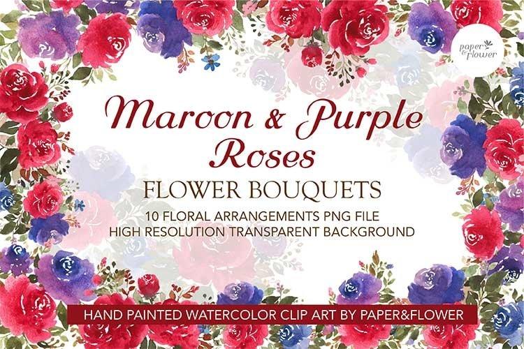 Maroon Rose Floral Watercolor Bouquet Set