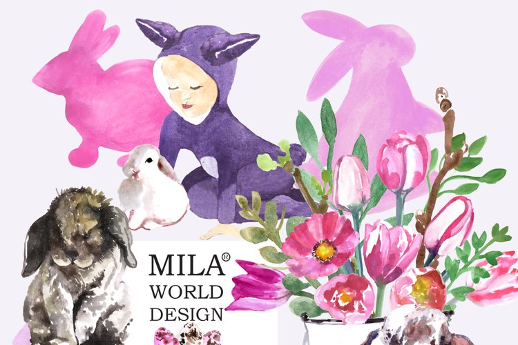 Easter Bunny and Pink tulips  example image 1