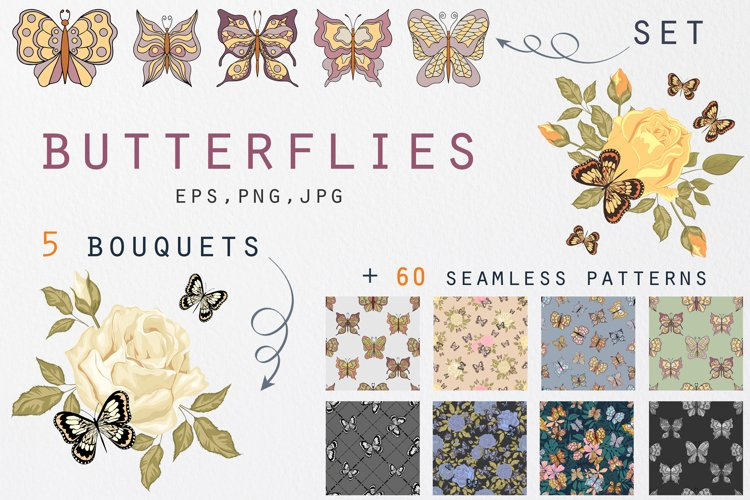 Butterflies clip art and seamless patterns