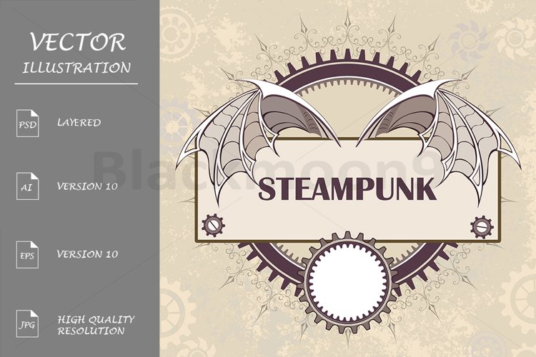 Banner with a Mechanical Dragon Wings ( Steampunk ) example image 1