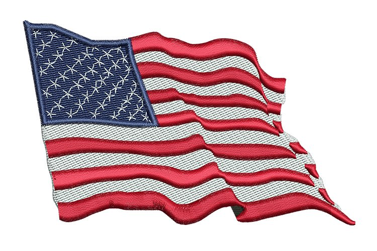 US Flag Wavy machine embroidery designs example image 1