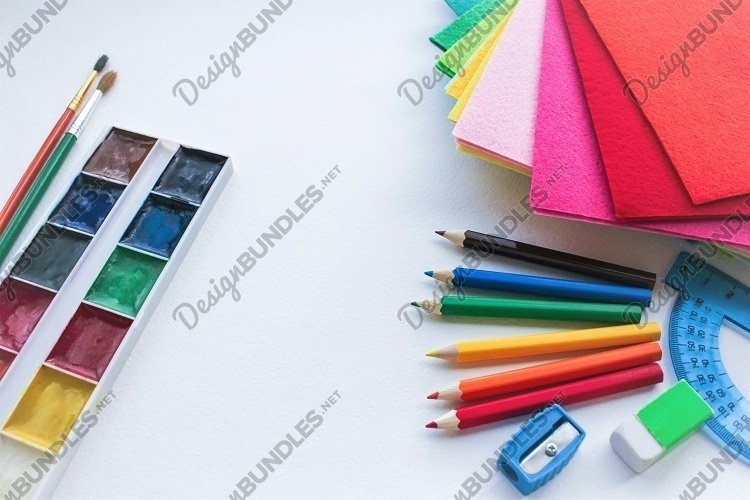 Stationery for school, creativity, art & crafts. Copy space