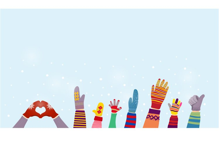 Gloves and winter snow background with snowflakes. example image 1