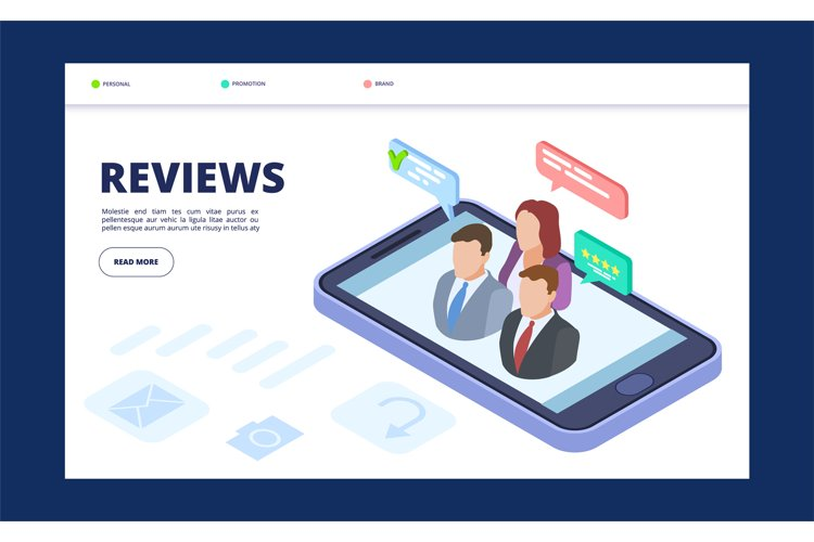 Reviews web banner template. Feedback landing page with isom example image 1