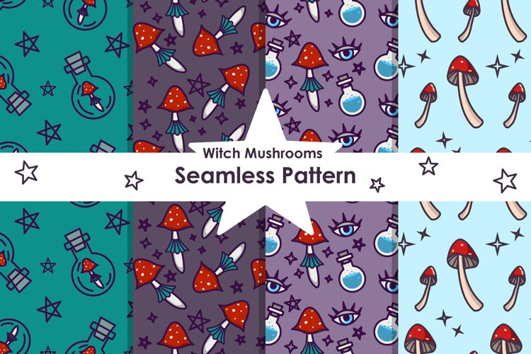 Witch Magical Mushrooms and Potions Seamless Patterns Bundle