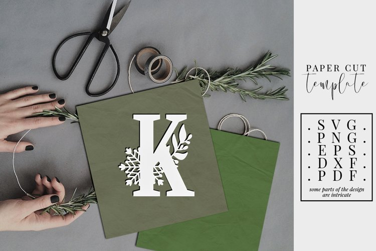 Winter letter K, single initial paper cut, snowflakes SVG example image 1