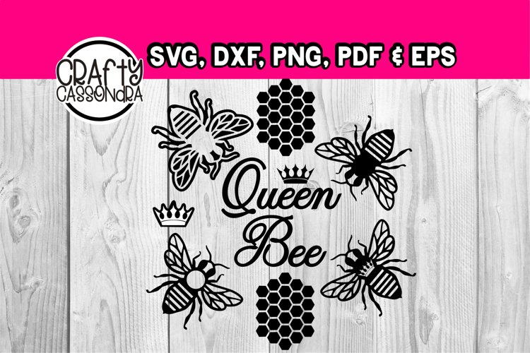 Queen bee svg and honeycomb themed bundle - bee silhouette example image 1