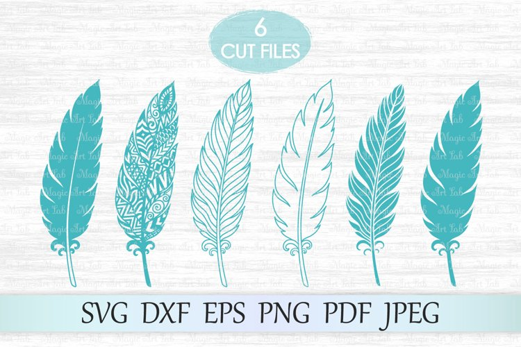 Feather svg, Zentangle feather svg, Feather mandala svg example image 1