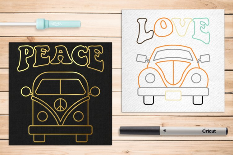 Vintage Van and Bug SKETCH Single Line Pen & Foil Quill SVG