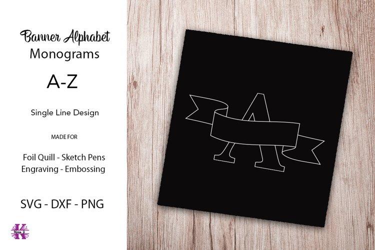 Banner Alphabet Monograms|foil Quill|Single Line Designs