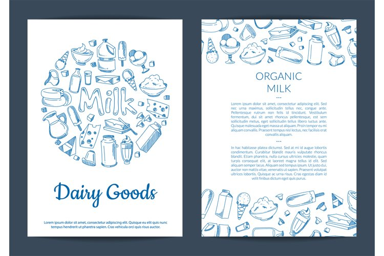Vector card or flyer template with place for text and hand d example image 1